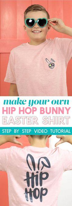 diy hip hop bunny t-shirt - love this for an easter shirt! #easterdiy #easter #bunnycraft #silhouette #cricut Bunny Crafts, Easter Crafts, Easter Decor, Vinyl Projects, Vinyl Crafts, Crafty Projects, Easter Shirts For Boys, Easter Projects, Easter Ideas