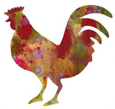 Rooster Watercolor 11x14 Art Print by whimsicalgallery on Etsy