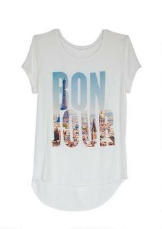 Bonjour Cityscape Tee - View All Graphic Tees - Graphic Tees - Clothing - dELiA*s