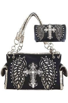 (This is an affiliate pin) Western Cowgirl Style embroidered angel wings and Rhinestone studded cross Handbag Wallet Set