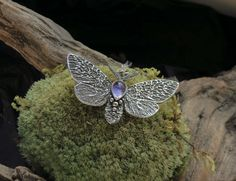 Moth Necklace - Silver Butterfly Necklace - Silver Moth Necklace - Iolite Moth Necklace by spaceweaver on Etsy
