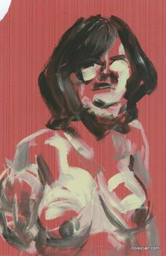 """""""L sketch 1"""" by Jeff Wrench. Acrylic paint sketch on wallpaper."""