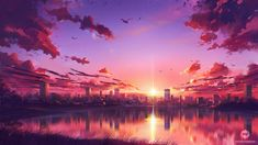 Commission: Sunset Scene by ExitMothership on DeviantArt Anime Wallpaper 1920x1080, Cool Anime Wallpapers, Anime Scenery Wallpaper, Cute Anime Wallpaper, Background Images Wallpapers, Landscape Wallpaper, Landscape Drawings, Cool Backgrounds, Background Pictures