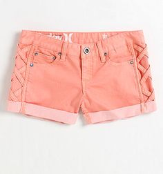 peach shorts. love the braided side detail