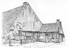 vakwerkboerderij in Lonneker, met boavenkamer. tekening van Jan Jans