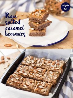 Raw Salted Caramel Brownies - includes a delicious salted caramel made from dates! Vegan and gluten-free.