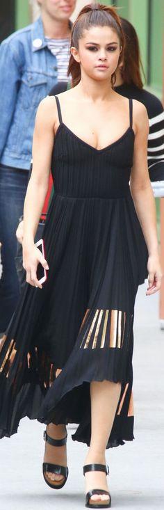 Who made Selena Gomez's black fringe dress and platform sandals?
