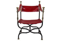 Vintage Dante-Style Chair with Red Vinyl Upholstery on OneKingsLane.com