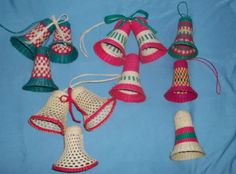 Lot of Vintage Wicker Woven Bells Christmas Wrearhs Crafts | eBay $4.99