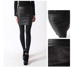 FUR FLEECE LEATHER SKIRT Leggings Chic Style Winter Stretched Jeggings  #Unbranded