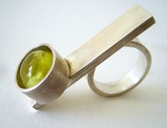 sterling silver flat bar ring with Australian prehnite cabochon by Heidi Abrahamson of Phoenix, Arizona. 2013