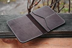 Passport Wallet Dark Brown Natural Leather Simple Travel
