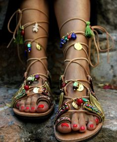 "Atar los Gladiator sandalias, zapatos de mujer Hippie Boho, sandalias de cuero griego, ""Athena 2"""