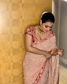 Traditional all the way. Gorgeous Kjol Devgan in blush pink color designer saree and red color designer blouse. Bollywood Actress Hot Photos, Indian Bollywood Actress, Beautiful Bollywood Actress, Most Beautiful Indian Actress, Bollywood Fashion, Indian Actresses, Beautiful Actresses, Hindi Actress, Bollywood Girls