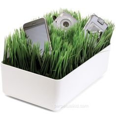 Haha!!  Sooper neat...  ZEN CHARGING STATION  Keep all your mobile phones, media players, and cameras in one convenient spot while hiding messy cords and wires with our Zen Charging Station. Create a small green oasis for your electronics. The faux grass stands your devices up to allow for better visibility and cooling while hiding unsightly charging and sync wires at the same time.