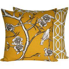 Yellow Bird on Cherry Blossom Throw Cushion by ChloeandOliveDotCom, $46.50