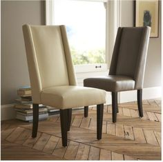 West Elm Willoughby Leather Dining Chair Ivory
