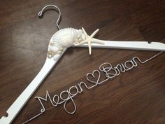 BEACH Wedding Dress Hanger, Starfish, Sea Shells, Bride Hanger, Name Hanger, Mrs Hanger, Wedding Hanger, Personalized Hanger on Etsy, $36.00