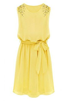 ROMWE   Beaded Self-tied Pleated Yellow Dress, The Latest Street Fashion  http://www.planetgoldilocks.com/womens_clothing.htm  #fashion deals #deals