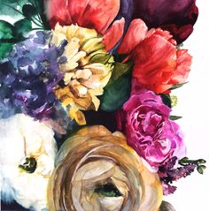 "Original watercolor painting by Christine Lindstrom - 18""x18"" Watercolor on paper (actual image measures 16""x16"" - there is a white border for framing) - Painted with professional watercolor paints on"