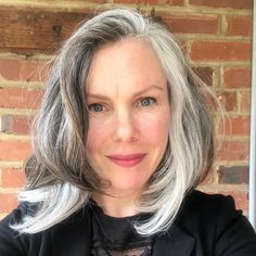 Gray hair don't care. Salt and pepper gray hair. Grey Brown Hair, Long Gray Hair, Brown To Blonde, White Hair, Short Shaggy Bob, Lob Hairstyle, Cool Hairstyles, Using Hot Rollers, Grey Hair Inspiration