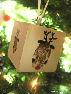 Homemade Ornaments .. children's finger print art! Love this idea w/ the clock! You could even do the feet, hand print every year and watch them grow. Great idea