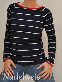 Nadelweis: Shirt Kaschi in maritimen Farben