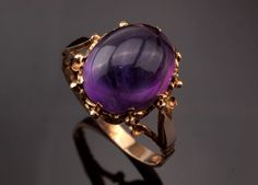 Vintage Amethyst Cabochon Ring from the 1970s by BelmontandBellamy
