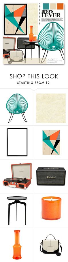 """""""1970's Living Room"""" by stylemoi-offical on Polyvore featuring interior, interiors, interior design, home, home decor, interior decorating, DwellStudio, Bomedo, Dot & Bo and Marshall"""
