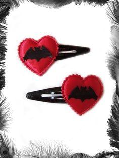 Satin Heart & Bat Hair Clips, Gothic, Rockabilly by EmeraldAngel Gothic Hairstyles, Headband Hairstyles, Death By Glamour, Goth Hair, Hair Comb Clips, Barrettes, Metal Headbands, Hair Slide, Halloween Fashion