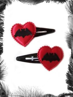 Satin Heart and Bat Hair Clips Gothic Rockabilly by emeraldangel, $6.99