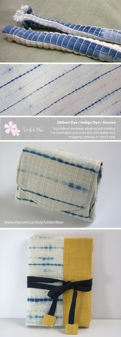 Suji shibori combines pleating and binding. I've hand dyed and sewn this mini wallet and wrapping makeup or pencil case. (Little m Blue)
