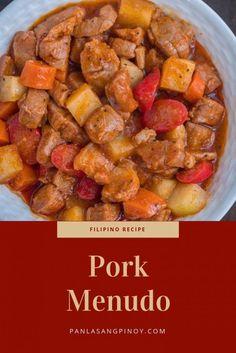Pork Menudo Recipe - Filipino Food and Recipes - Pork Recipes, Asian Recipes, Cooking Recipes, Vegetarian Recipes, Pork Menudo Recipe, Best Filipino Menudo Recipe, Best Filipino Recipes, Pork Dishes, Peanuts