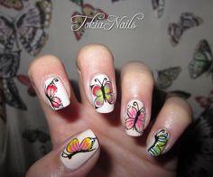 Butterflies #TokiaNails  #nailart #nailartdesign #nailpics #naturalnails #mynails #natura #butterflies