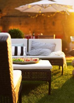 sunset lounging, with fairy lights