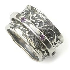 63 - Passage to Israel Sterling Silver Gemstone Spinner Ring
