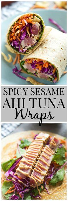 Spicy Sesame Ahi Tuna Wraps #UpgradeWithHellmanns #sponsored