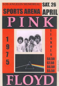 """PINK FLOYD Concert poster 1975 Los Angeles  • 100% Mint unused condition • Well discounted price + we combine shipping • Click on image for awesome view • Poster is 12"""" x 18"""" • Semi-Gloss Finish • Great Music Collectible - superb copy of original • Usually ships within 72 hours or less with > tracking. • Satisfaction guaranteed or your money back. Sportsworldwest.com"""