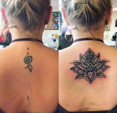 16 Tattoo Before-And-After Pictures That Prove The Power Of Cover-Ups - Lotus flower tattoos - Cover Up Back Tattoos, Neck Tattoo Cover Up, Flower Cover Up Tattoos, Butterfly Tattoo Cover Up, Back Of Neck Tattoo, Hip Tattoos Women, Trendy Tattoos, Black Tattoos, Cool Tattoos
