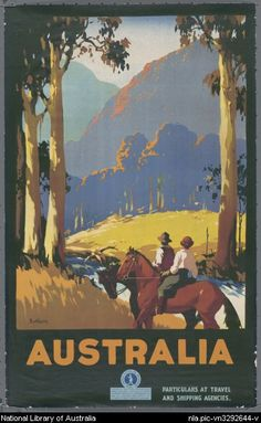 View this item and discover similar for sale at - Original vintage travel advertising poster for Australia by the renowned poster artist James Northfield Scenic image of two horse riders pausing Art Deco Posters, Vintage Travel Posters, Poster Prints, Modern Posters, Retro Posters, Art Print, Vintage Advertisements, Vintage Ads, Outback Australia