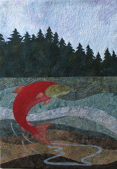 Father's Day Art Quilt  Spawning Sockeye Salmon by KathyKinsella