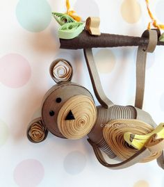 Quilled Hanging Monkey Ornament by QuillyNilly, $21.50