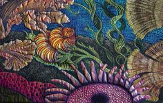 Primordial Sea quilt detail by Judy Coates Perez