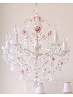 Vintage Pretty in Pink Crystal Chandelier | Femininely Pink ...