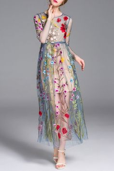 LADY EYES - Cami Dress and Flower Embroidery Gauze Dress Twinset