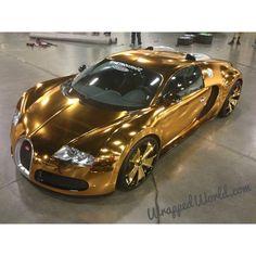 Bugatti Veyron wrapped in Chrome Gold