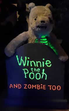 Halloween Forum member chubstuff's WONDERFUL Winnie the Pooh zombie stone! I love that they used the Winnie font even - and the glow! What a cool stone/prop! Halloween Forum, Halloween Stuff, Halloween Diy, Halloween Decorations, Spooky Pictures, Winnie The Pooh, Glow, Teddy Bear, Stone