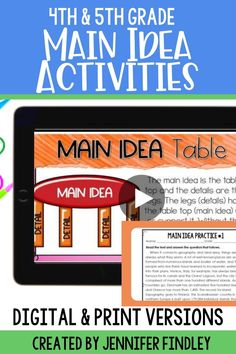 Main idea is always a tricky concept for students to grasp! Distance learning makes it even more challenging. This set of fourth and fifth grade digital main idea activities can make it easier - and more fun! The printable versions are included for in-person teaching.