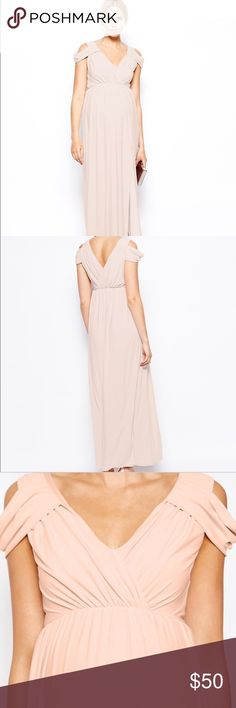 ASOS Maternity Maxi Dress With Wrap Front in blush ASOS Maternity Maxi Dress With Wrap Front - Blush / UK 20/ US 16. NEVER WORN. Out of stock. Such a beautiful material and super comfortable for expecting mamas! ASOS Maternity Dresses Maxi