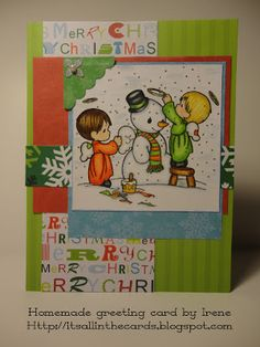 Christmas card with a Precious Moments coloring page (colored with Prismacolor pencils) snowman scene